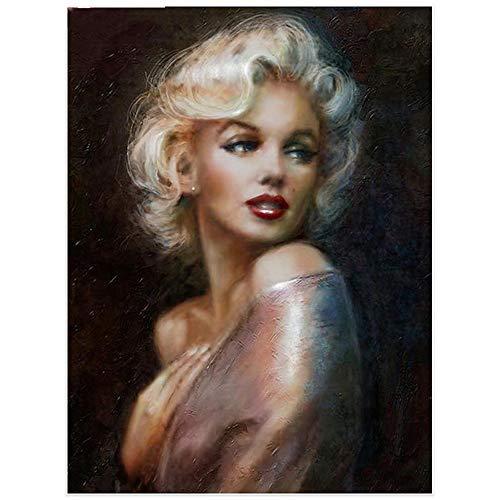 HDWALLART Pittura Diamante Diamond Painting Marilyn Monroe Kit di Ricamo Diamante Quadrato Pieno Immagini di Ritratto Strass Decorazione Diamante Mosaico, 60x80 cm