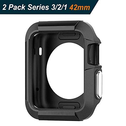 iVoler [2 Stücke] Apple Watch 42mm Series 1 2015 / Series 2 2016 / Series 3 2017 Hülle, Premium Schwarz Tasche Schutzhülle Weiche TPU Silikon Gel Schutzhülle Case Cover