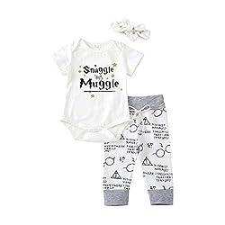 Baby Mädchen Junge 3Pcs Kleidung SetKurzschluss Hülsen T-Shirt und Lange Hosen mit Hut Snuggle This Muggle Romper (Weiß, 70(0-6M))