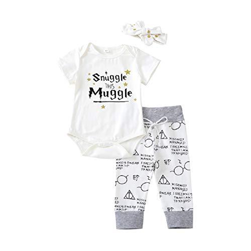 Baby Mädchen Junge 3Pcs Kleidung SetKurzschluss Hülsen T-Shirt und Lange Hosen mit Hut Snuggle This Muggle Romper (Weiß, 80(6-9M))