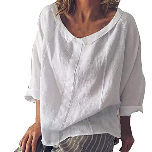 Gestreifte Damen-panty (iYmitz 3/4-Arm Damen Streetwear Einfarbig Rundausschnitt Leinen Frauen Freizeit Bluse Sommer Freizeithemd(Weiß,EU-38/CN-M))