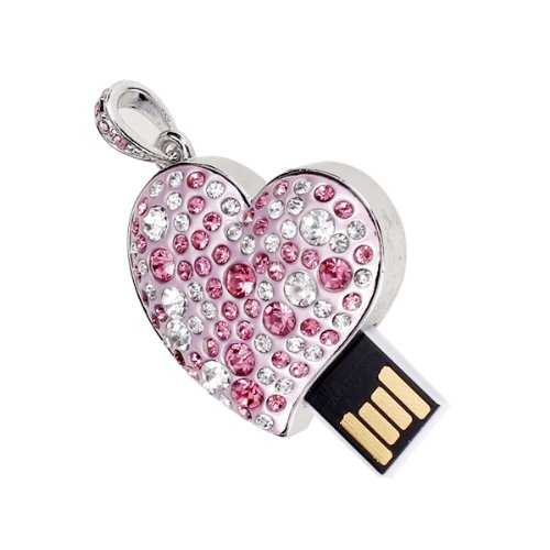16gb usb 2.0glitter rhinestone heart style flash memory drive flash disk pen drive–rosa