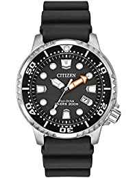 Citizen Watch Promaster Diver Men's Solar Powered Watch with Black Dial Analogue Display and Black Rubber Strap Bn0150-28E