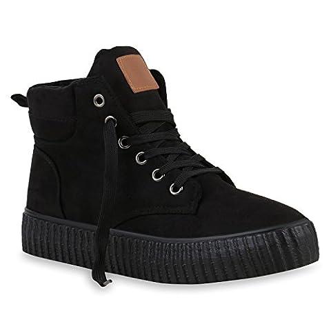 Gefütterte Damen Sneakers High Winter Profil Sohle Schuhe 122549 Schwarz 38 | Flandell®