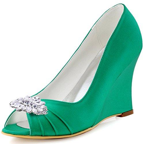 ElegantPark WP1547 Escarpins Femme Talon Compense Satin Bijou Mobile Diamant Fleur AF01 Chaussures de Soiree AW Vert