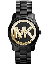 Michael Kors de la pista de las mujeres de color negro ion-plateado de acero inoxidable de 34 mm MK6057 reloj de pulsera