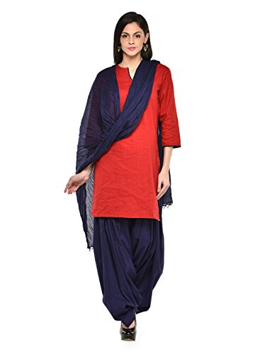 Stylenmart Women Cotton Solid Full Patiala Salwar Dupatta Set (Stmapa078605 _Blue _Free Size)