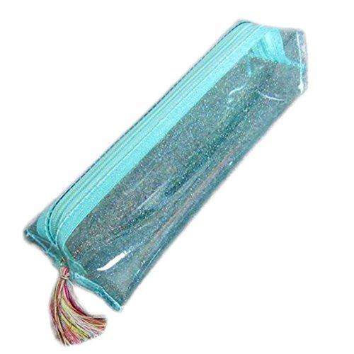 Cosanter Federmäppchen Stiftetui Groß Kapazität glitzer Briefpapier Pouch Make up Bag wasserdicht transparent hellblau