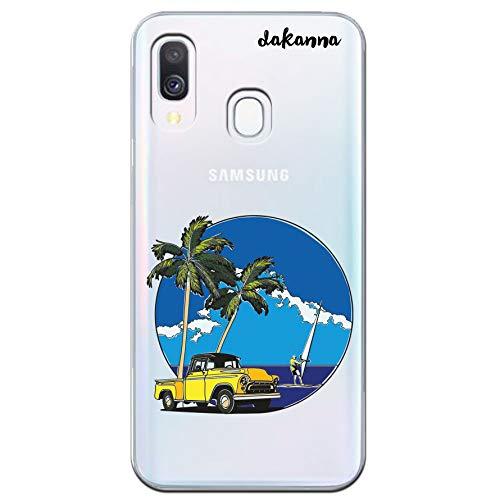 für [Samsung Galaxy A40] Vintage Truck mit Palmen und Surfer, Silikonhülle [Transparenter Hintergrund] ()