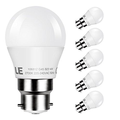 LE Ampoule LED B22 4W (=35W Ampoule Incandescente), Baïonnette, 300LM 2700K Blanc Chaud, Angle de Faisceaux 180°, Lot de 5 [Classe énergétique A+]