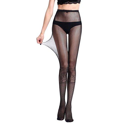 (♪ZEZKT♪Frauen transparenten Pantyhose Stockings Halbmatt Schwarz Tights Stockings Vintage Netzstrümpfe Hingucker Strumpfhosen (D))