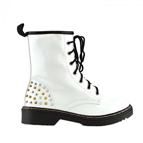 Kick scarpe da donna pizzo caviglia retro da bagagliaio da donna funky vintage fangbanger martin caviglia bagagliaio Weiße, Runde Ohrstecker L-12085