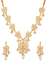 Touchstone Gold Plated Traditional Style Necklace Set For Women