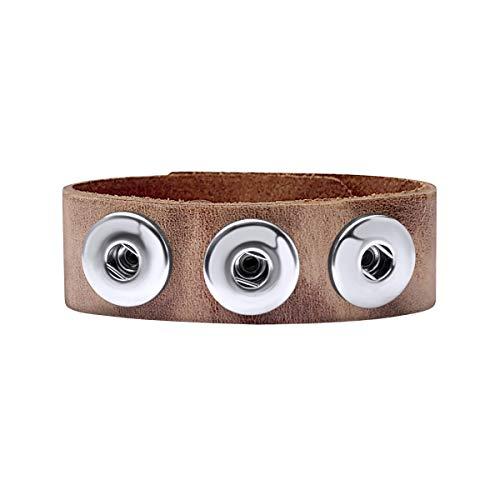 Quiges Damen 18mm Druckknopf Chunk Armband aus Leder Braun Walnuss Verstellbar 18.5-20.5cm für Click Buttons -