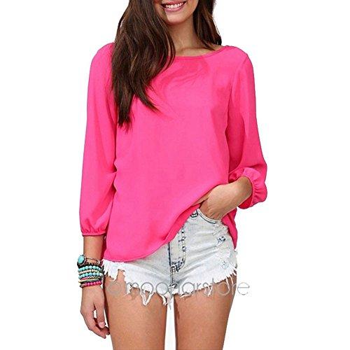 Pinkyee Women's Loose, rückenfrei, Schleife, Knoten, Bluse langarm Shirt Rot - Rose