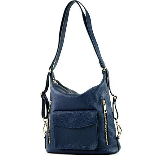modamoda de - T174 - ital Damen Rucksack Tasche 2in1 aus Leder, Farbe:Saphirblau