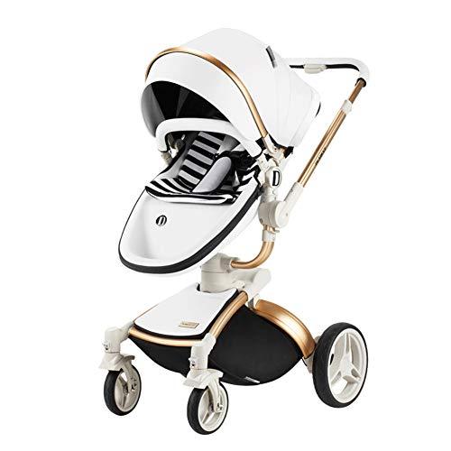 CQ Luxus Kinderwagen Hoch Landschaft Kinderwagen Für Neugeborene Travel System Baby Trolley Faltbarer Kinderwagen,White