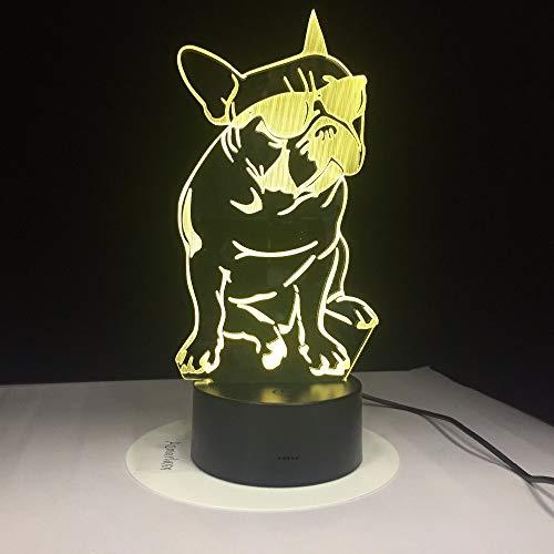 Französisch Bulldog Sunglass 3D Illusion FernbedienungFrenchie Hund Dekorative Beleuchtung, LED Schreibtisch Tisch Nachtlicht Lampe