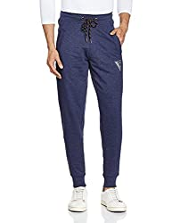 Van Heusen Mens Cotton Track Pants (8907522408548_50044_Medium_Blue Melange)
