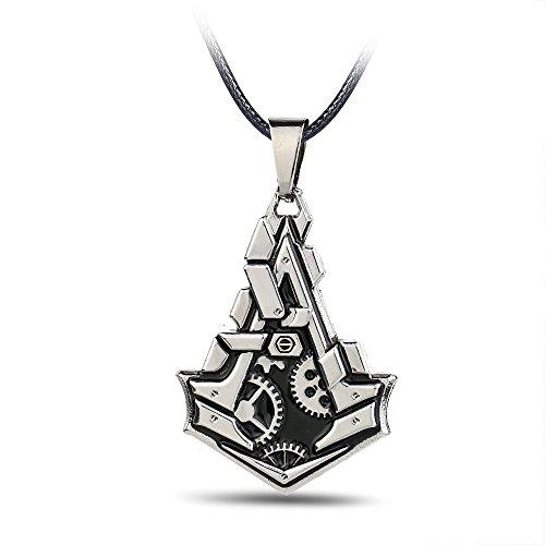 Halskette mit Anhänger Assassin's Creed, Amulett, Schmuck, Kette, Halsanhänger in Silber, Leonardo, Halsschmuck neuestes Modell (Seltene Assassins Creed)