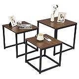 eSituro Set di 3 Tavolini Bassi Tavolino da Salotto Moderno Tavolino Divano da Caffè in MDF Legno Scuro SCD0072