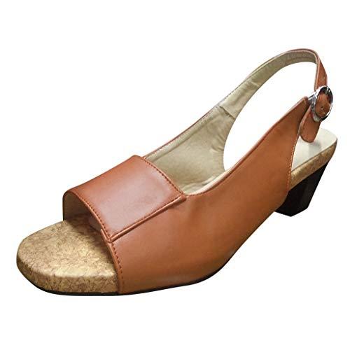 LILIGOD Keilsandalen für Damen Sommer Sandalen mit Hohen Absätzen Business Sandalen mit Fischmaul Frauen Freizeitschuhe Open Toe Pumps Ankle Buckle Römische Sandalen Pumps -
