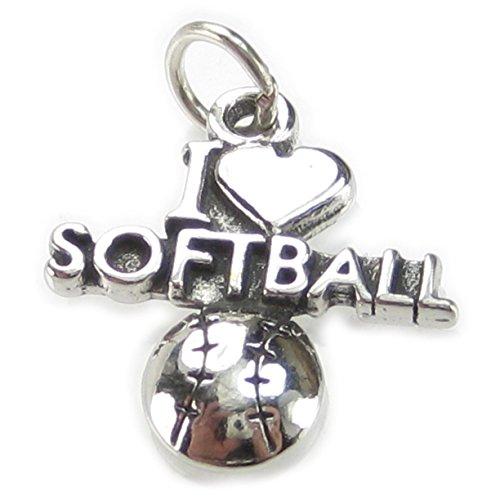 I Love Softball-Ciondolo in argento sterling 925, con ciondoli, 1 x CF4612