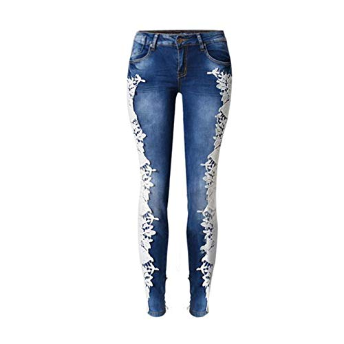 Damen Spitzen Jeans Spleiß Jeanshose mit Ausschnitt Spitze Niedrige Taille gerade fest Frauen Bleistifthosen Mode wild Slim Fit Damen Jeans,XXL -