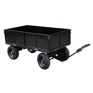 Remorque - plateau 400 kg 4 roues en acier peint pourTracteur-Tondeuse autoportée (Livraison gratuite)