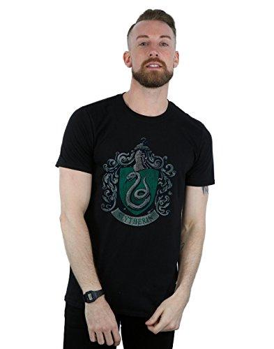 Harry Potter Herren Slytherin Distressed Crest T-Shirt XXX-Large Schwarz