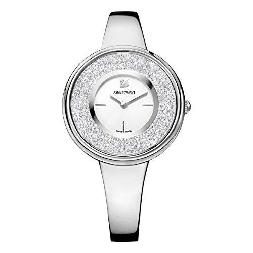 Swarovski Damen Crystalline Pure Armbanduhr für Frauen, Edelstahl, weißes Kristall, Metallarmband 5269256