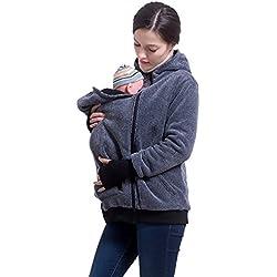 M&M Mymoon Multifunción Embarazada Mujer Mamá Canguro Calentar Suéter Cómodo Bebé Mascota Encapuchado Bolsillo Cremallera Capa Largo Manga Capucha (Azul, S/M)