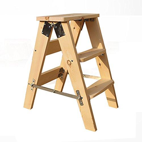 PENGFEI Pliable Stool Ladder Multifonction Usage Double 3 Étapes Bois Massif 2 Couleurs, 40 * 20 * 60 CM (Couleur : Couleur du bois)