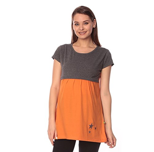 Goldstroms women's Round Neck Maternity/Feeding/Nursing Tshirt/Top/Tee (Large, Orange)