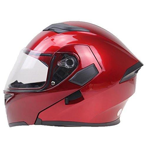 Motorrad Modular Helm Dot (Sharplace 1 Stk. Motorradhelm Helm Visier Klapp Modulare Vollgesicht Dot Genehmigt aus ABS Verbundmaterialien + Schwamm - Rot xl)