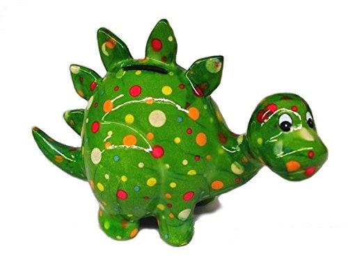 Spardose DINO. Pomme Pidou Keramik Spardosen mit lustigen Dinosaurier Motiven (Punkte grün)