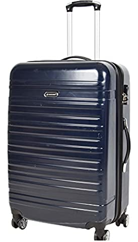 APOLLO Suitcase Luggage Travel Bags Durable Hard Shell Expandable 4 Wheeler Number Lock Trolley Navy Blue (LARGE 76x47x32 cm /