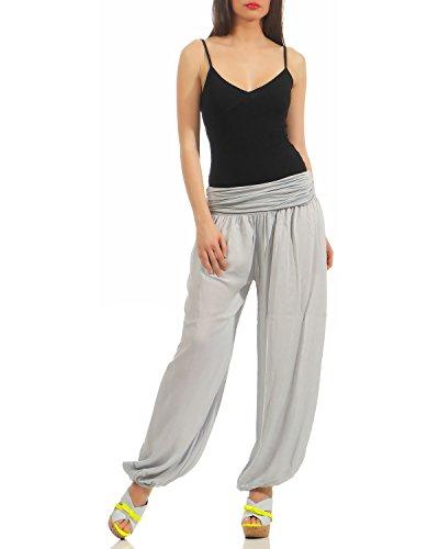 ZARMEXX Damen Pumphose Pluderhose Harem-Stil Sommerhose all over Print Freizeithose Aladinhose Hose One Size Uni-hellgrau