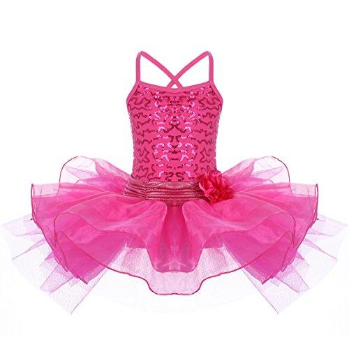 FYMNSI Kinder Mädchen Ballettkleid, Pailletten Tanzkleid Ballettanzug Ärmellos Tütü Tutu Ballett Kleid Trikot Turnanzug Gymnastikanzug Röckchen Prinzessin Tanzbody Ballettkleidung Rosa 9-10 ()
