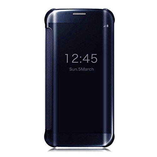 Caryycy lusso elegante glitter smart flip ultra slim view electroplated specchio rigida trasparente per custodia per samsung galaxy s6 edge plus , blu scuro