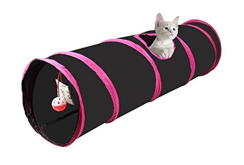 Cosy Life Tunnel per gatti con giocattolo incasso 86x 25cm, colore: Blu/Bianco