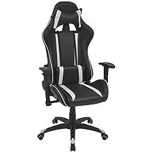 Tuduo Silla de Oficina Racing reclinable de Piel sintética Blanca Elegante, cómodo y Simple Silla