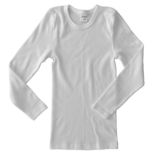 HERMKO 2830 Kinder langarm Shirt aus 100% Baumwolle, Unterhemd für Mädchen und Jungen, Farbe:weiß, Größe:140 (Größen Mädchen Unterwäsche)