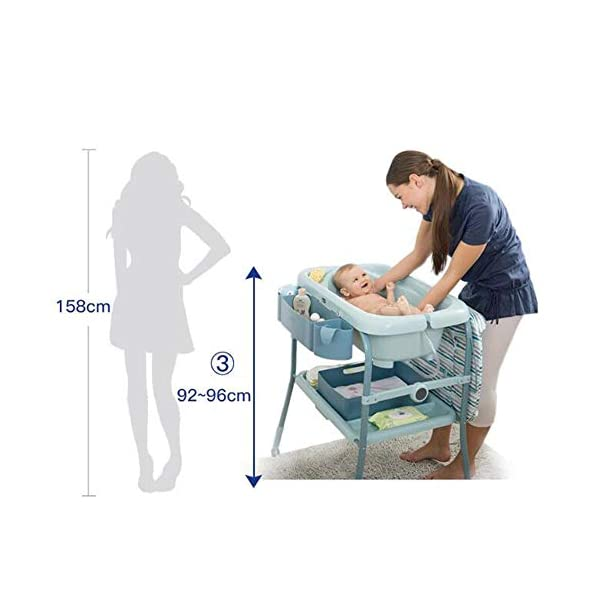 Baby Changing Table Unit Changing Station Storage Trays And Bath With Tub AA-SS-Baby Changing Table Comfortable height for changing the baby You can always keep a hand on your baby Material : New Zealand pine + lacquer-free board 4
