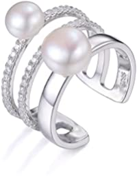 JewelryPalace Mujer de agua dulce cultivada 7-8mm blanco Pearl Band Wrap empilable anillo de plata de ley 925