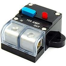 aaerp 12 V // 24 V DC Home Solar System Wasserdicht Breaker Reset Sicherung Inverter Tragbarer Sicherungsblock Stromunterbrecher ABS 100A Black//100a
