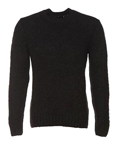 DANIELE FIESOLI Herren Rundhals Pullover aus Alpaka Wolle girocollo aperto alpaca tricot schwarz (XL) (Herren-pullover Alpaka-wolle)