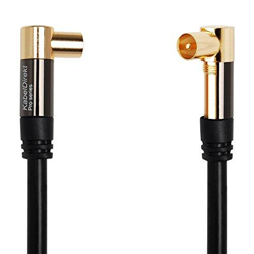 KabelDirekt Antennenkabel 90° gewinkelt Koax Stecker (2m 75 Ohm, Koax Kupplung Koaxialkabel geeignet für TV, HDTV, Radio, DVB-T, DVB-C, DVB-S, DVB-S2 (Winkelstecker) - PRO Series)