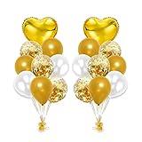 ZSQQSCL Jahr Weihnachten Luftballons 12-Zoll Konfetti Ballon Set Party Dekoration Hotel Ktv Inneneinrichtung, Gold