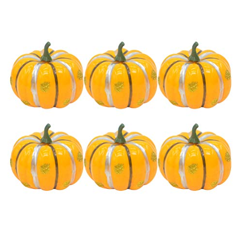 Amosfun 12pcs künstlicher Kürbis-Schaum-Kürbis für Halloween-Fall und Erntedank-Dekorations-Gelb (Mit Halloween-basteln Mini-kürbisse)